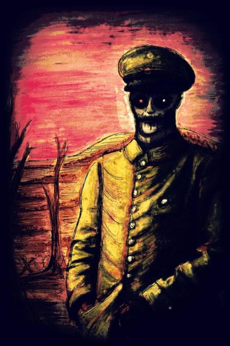 Cover art for HORRIFIC HISTORY, expected April 19 from Hazardous Press.