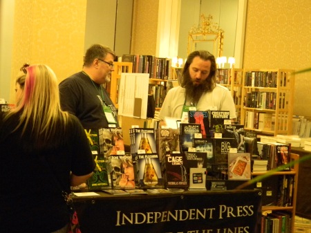 The Post Mortem Press table at the World Horror Convention (pictured: Eric Beebe, me)