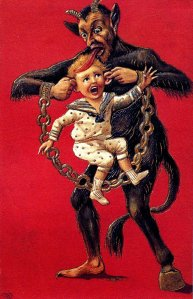 A Victorian representation of Krampus punishing a child.