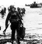 A soldier makes it ashore during the Utah Beach invasion.